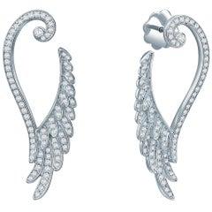 Garrard Wings Embrace 18 Karat White Gold White Diamond Drop Earrings