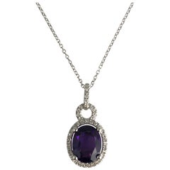1.83 Carat Fine Amethyst and Diamond Oval Halo Drop Pendant in 14 Karat Gold