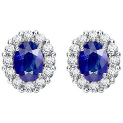 Garrard 1735 Platinum GIA Oval Blue Sapphire White Diamond Cluster Stud Earrings