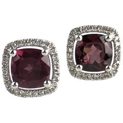 2.27 Carat Raspberry Garnet and Diamond Halo Stud Earrings in 14 Karat Gold