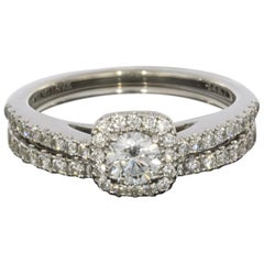 Vera Wang Love White Gold Round Diamond Halo Engagement Ring and Band Set