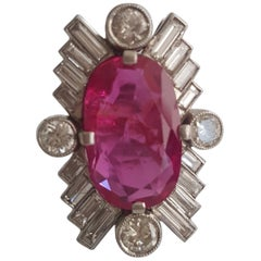 SSEF certified 7.50 Carat Oval Ruby Burma No Heat And White Diamond Ring In 18k