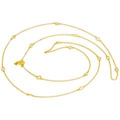 Flat Diamond 22 Karat Gold Long Double Chain Necklace