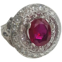 SSEF Certified 3.20 Carat Oval Purplish Red Ruby Burma No Heat And Diamond Ring