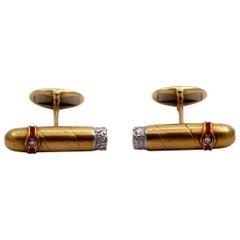 Gold Platinum Enamel and Diamond Cigar Cufflinks
