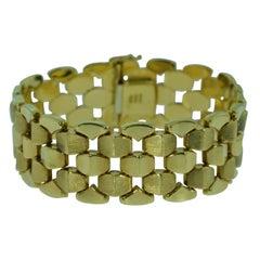 Vintage Modernist Italian Bracelet in 18 Karat Yellow Gold by Milros