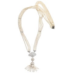 Fresh Water Pearl Diamond White Gold Long Sautoir Tassel Drop Necklace