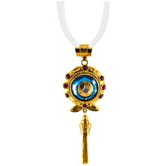 13.00 Carat Blue Topaz 1.83 Carat Diamond Ruby Yellow Gold Pendant Necklace
