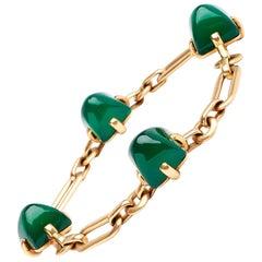 18 Karat Yellow Gold French Sugarloaf Chrysophrase Link Bracelet