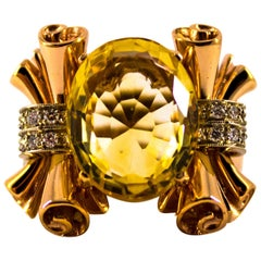 Renaissance 0.30 Carat Diamond 12.00 Carat Citrine Yellow Gold Cocktail Ring