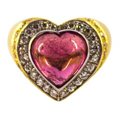 "1.40 Carat White Diamond 6.00 Carat Tourmaline Yellow Gold ""Heart"" Cocktail Ring"