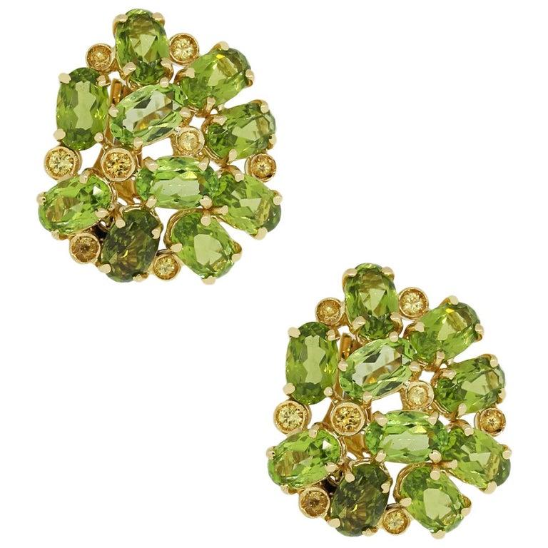 Peridot Gemstone Cluster Earrings
