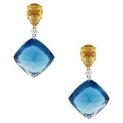 Tourmaline and Citrine Dangle Earrings