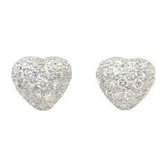 Oscar Heyman Platinum Diamond Heart Earrings