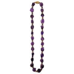 18 Karat, Yellow Gold Amethyst Necklace