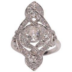 Antique Edwardian Platinum Old Mine Cut .97 Carat Center Diamond Ring