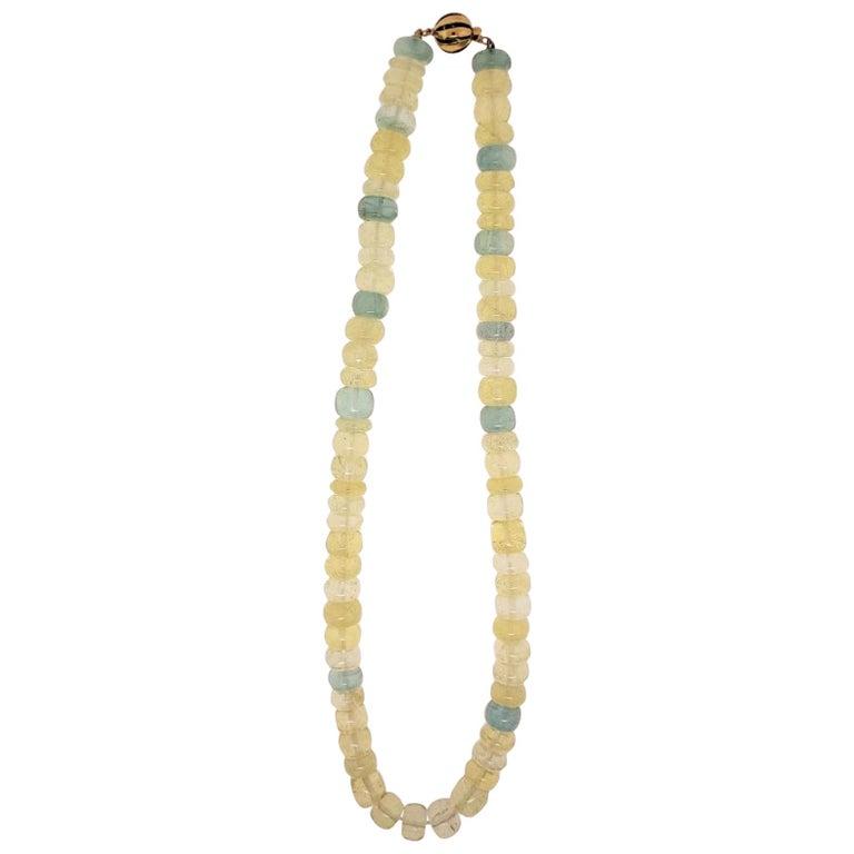 14 Karat Yellow Gold, Yellow, Golden and Aquamarine Beryl Bead Necklace