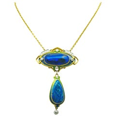 Durand & Company Rare Art Nouveau Gold, Black Opal and Diamond Necklace