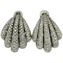 Stylish Seashell Shaped White Gold and Diamond Earrings