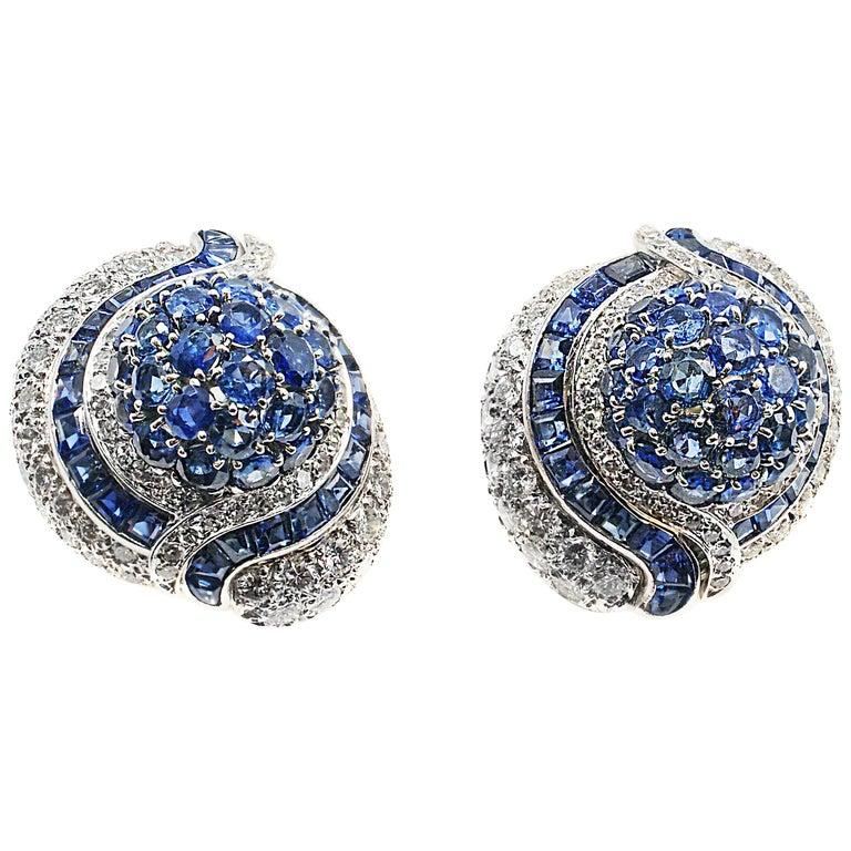 Impressive 1960s Sapphire Diamond Platinum Bombe Ear Clips