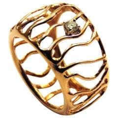 Ring Rose 18 Karat Gold Diamonds Modern Waves