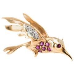 1950s Ruby, Diamond and 14 Karat Yellow Gold Bird Pin