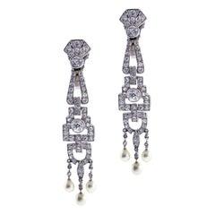 Art Deco Diamond and Pearl Drop Earrings
