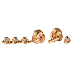 Vintage Tiffany & Co. 14 Karat Gold and Diamond Cufflinks