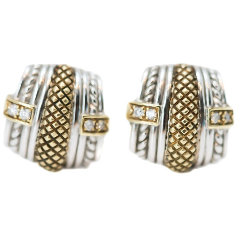Judith Ripka Sterling Silver, 18 Karat Yellow Gold, Diamond Earrings For Sale