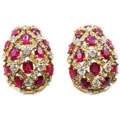 Ruby Diamond 18 Karat Gold Lattice Bombe Earclips