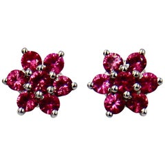 Pink Spinel 18 Karat White Gold Flower Stud Earrings