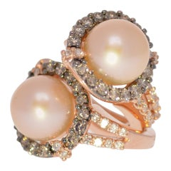Levian Estate Diamond and Pearl 14 Karat Rose Gold Earrings