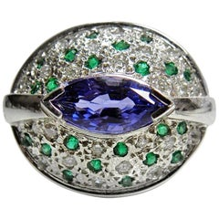 3.61 Carat Tanzanite, Emerald & Diamond Dome Ring 18K White Gold