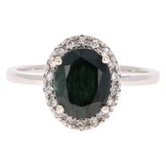 2.91 Carat Sapphire Diamond 14 Karat White Gold Ring