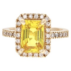 4.22 Carat Yellow Sapphire Diamond 14 Karat Yellow Gold Ring
