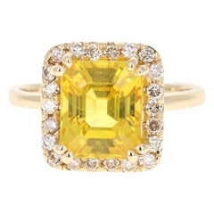 5.31 Carat Yellow Sapphire Diamond 14 Karat Yellow Gold Ring