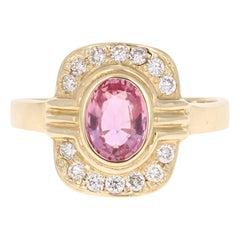 1.23 Carat Pink Sapphire Diamond 14 Karat Yellow Gold Ring