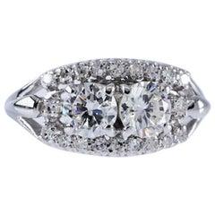 Vintage Natural Diamond Double Center Stone 1.22c White Gold 14 Karat Ring