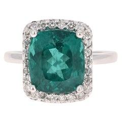 6.97 Carat Apatite Diamond 14 Karat White Gold Engagement Ring