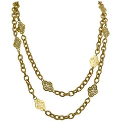 14 Karat Italian Yellow Gold Textured Filigree Station Necklace