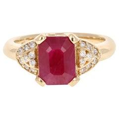 2.86 Carat Ruby Diamond Yellow Gold Ring