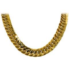 18 Karat Italian Yellow Gold Flat Double Curve Necklace