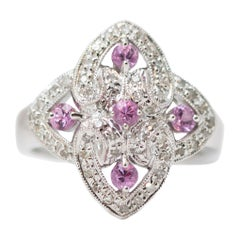0.50 Carat Total Diamond and 0.25 Carat Pink Sapphire Ring in 14 Karat Gold