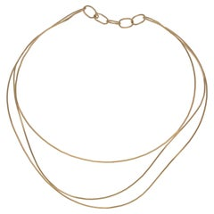 18 Karat Tiffany & Co. Elsa Peretti Wave Style Yellow Gold 25.40 Gram Necklace
