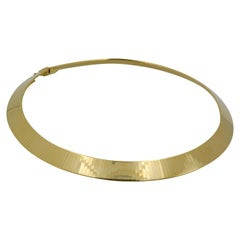 14K Italian Yellow Gold Flat Omega Chocker Necklace