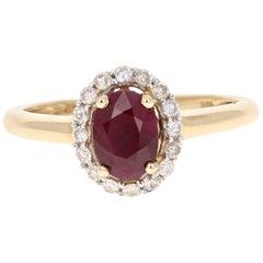 1.36 Carat Ruby Diamond Yellow Gold Ring