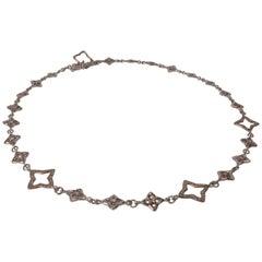 Estate David Yurman Quatrefoil Sterling Silver 16 in Diamond Necklace 16 Grams