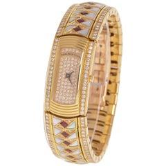 Women's Vintage Mauboussin, Lady M Maxi Diamond, Ruby, 18 Karat Gold Watch