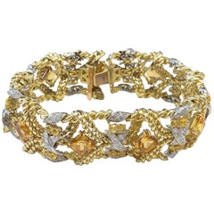 Estate Citrine, Yellow Sapphire, and White Diamond Bracelet in 18 Karat Gold