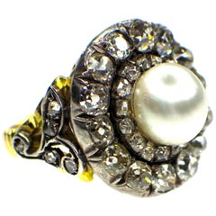 Antique, Natural Pearl and Diamond Ring, 19th Century